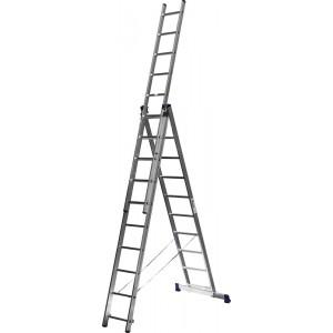 Лестница-трансформер СИБИН трехсекционная  со стабилизатором, 10 ступеней