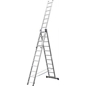 Лестница-трансформер СИБИН трехсекционная  со стабилизатором, 11 ступеней