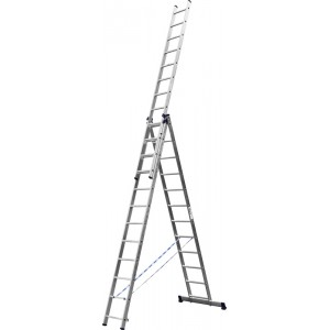 Лестница-трансформер СИБИН трехсекционная  со стабилизатором, 13 ступеней