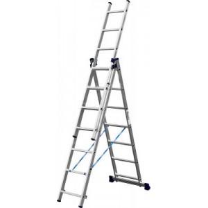 Лестница-трансформер СИБИН трехсекционная  со стабилизатором, 7 ступеней